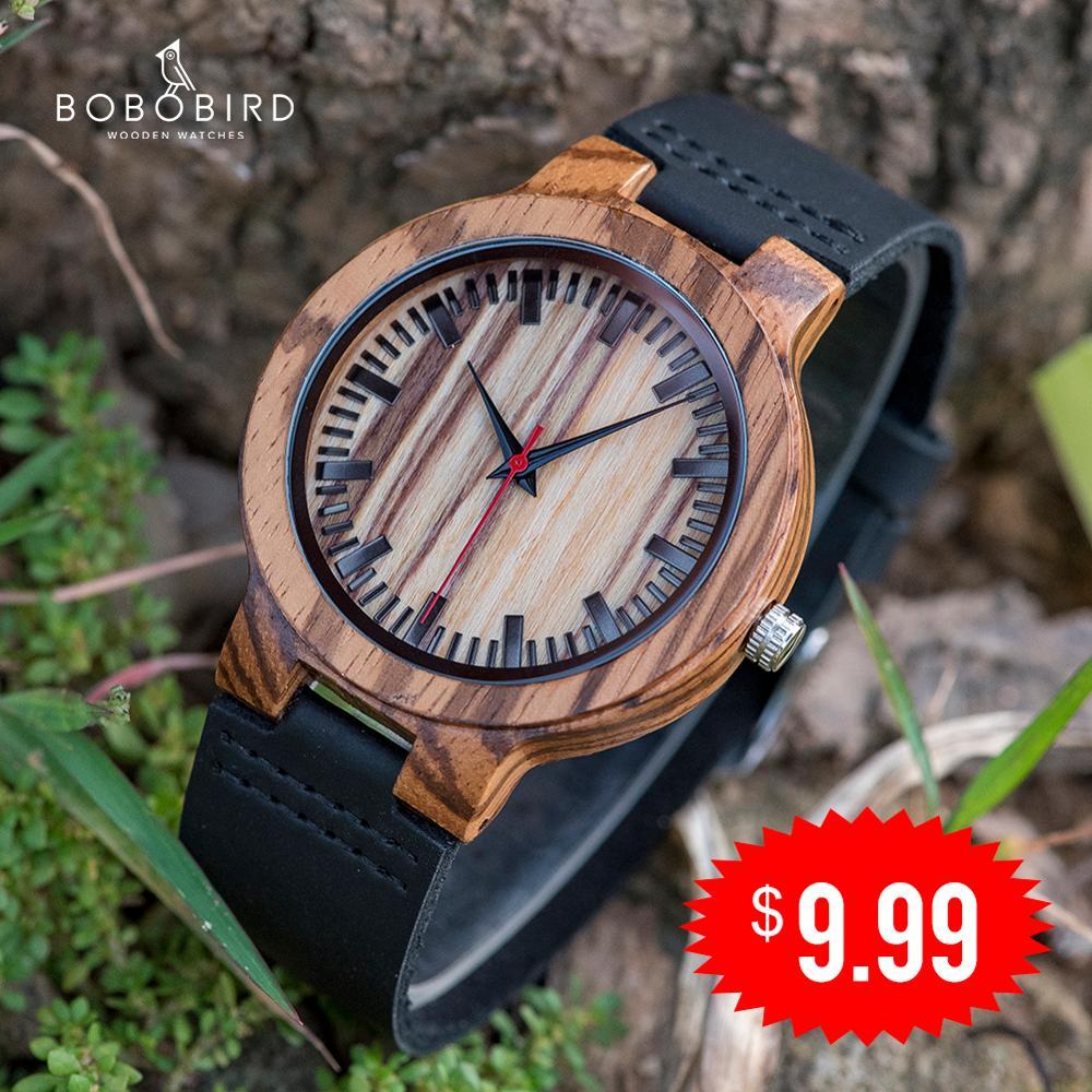 Relogio Masculino BOBO BIRD деревянные часы для мужчин Лидирующий бренд часы кожаный ремешок часы отличные наручные часы для мужчин reloj hombre
