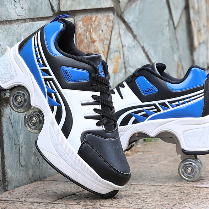 New Fashion Multifunction Men Women Flat Entertainment Shoes With Two Wheels Creative Footwear Square Sport Chaussure Homme