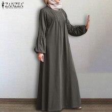 Vestido muçulmano zanzea dubai abaya turquia hijab vestido outono manga longa sólido kaftan sundress vintage maxi longo vestido robe