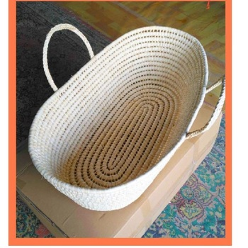 Corn Woven Baby Crib Portable Travel Outdoor Bed Hand Naked Basket Cradle Sleeping Protector For Newborns Room Decoration newborn basket portable baby basket wicker woven sleeping basket car baby basket baby cradle bed