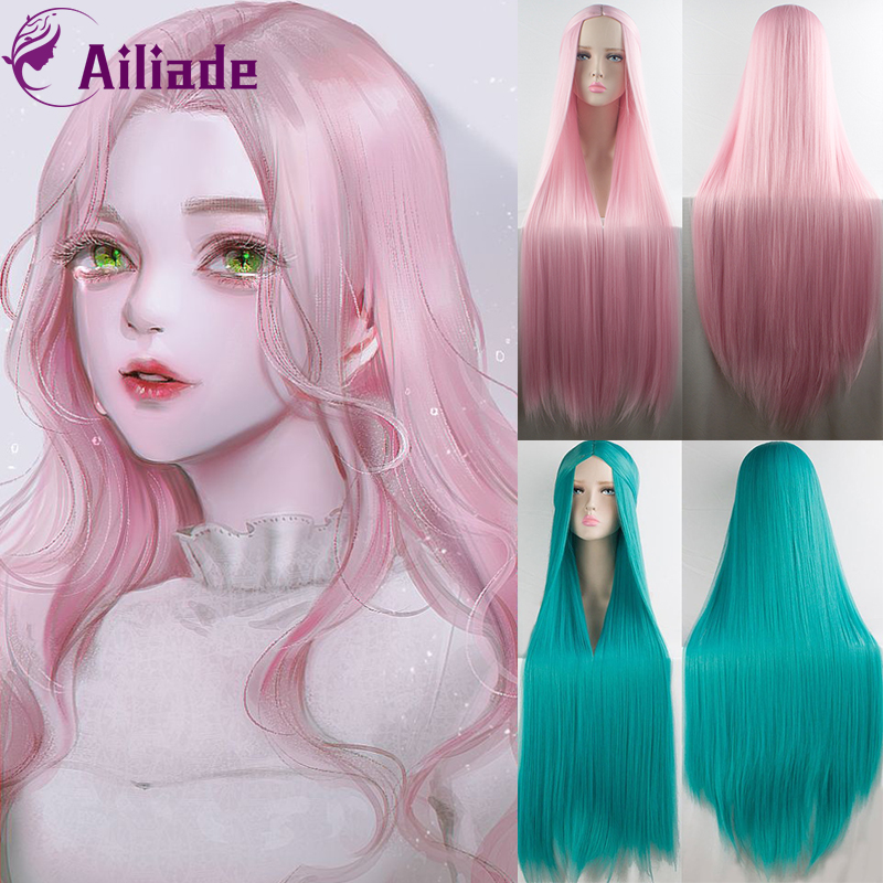 AILIADE 100CM Long Straight Wig Cosplay Heat Resistant Synthetic Hair Wig Purple Pink Blue Black Green Grey Anime Cosplay Wigs