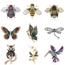 Crystal Vintage Dragonfly Brooch for Women Insect Brooch Pin Bohemia New Bee Butterfly Hummingbird Rhinestone Statement Jewelry(China)