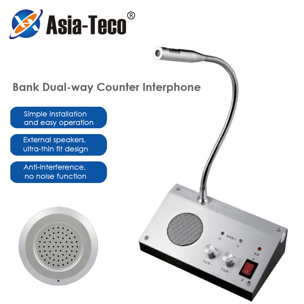Two-way Call Through the Window Glass Counter Intercom Speaker System of the Shop Office Window Microphone Intercom Speaker