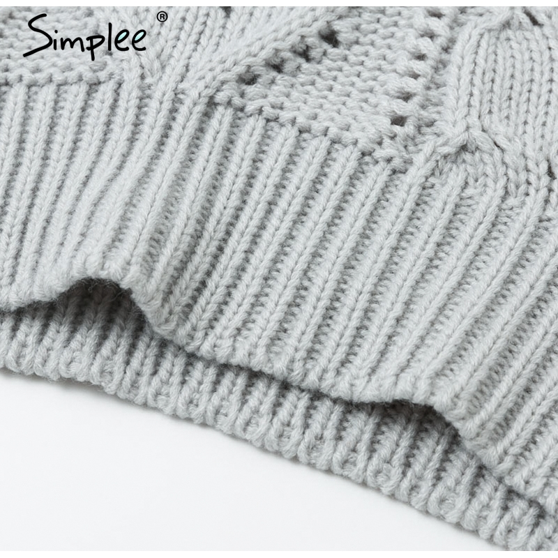 Simplee Hollow out knitted women pullover sweater Lantern sleeve female autumn winter sweater O-neck casual ladies jumper 19 13