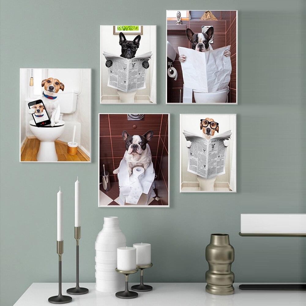 Moderne Nordic Stil Wc Hund Zeitung Tier Poster Lustige Cartoon Bild Kinder Zimmer Badezimmer Dekor Kunst Decor Leinwand Malerei