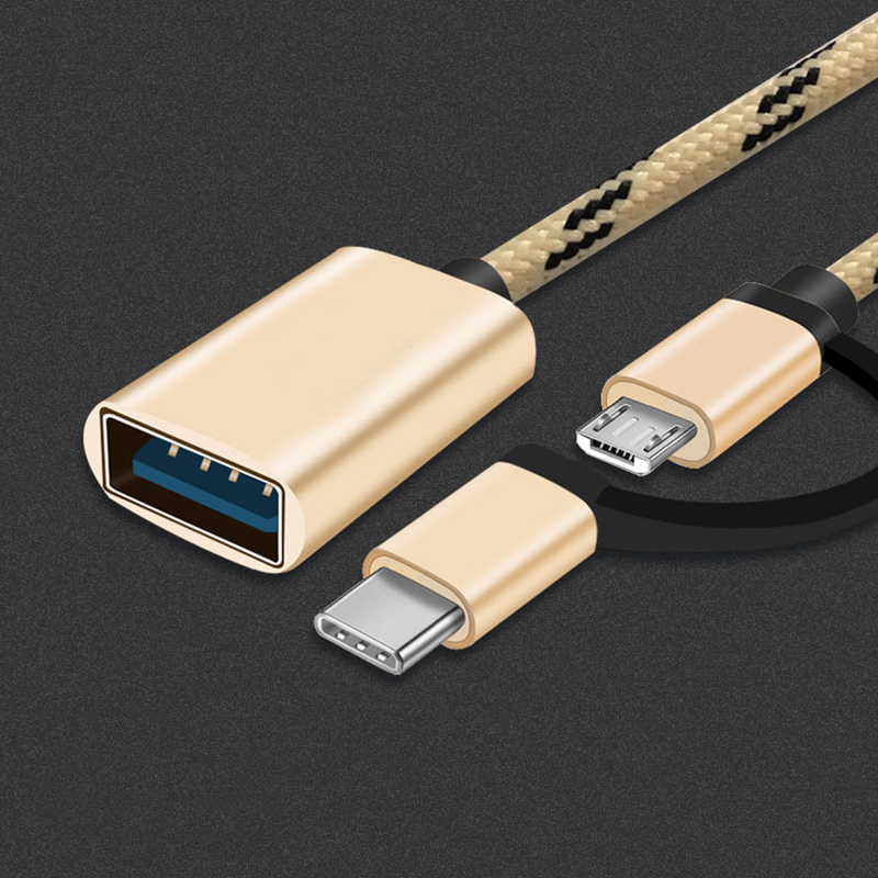 2 In 1 Otg Adapter Cable Nylon Braid Usb 3 0 To Micro Usb Type C Data Sync Adapter For Huawei For Macbook U Disk Type C Otg Best Deal 2ebc1 Cicig