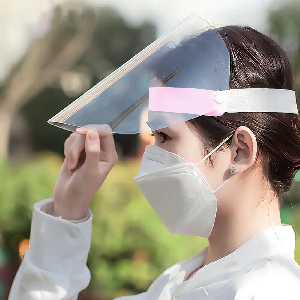 1/2/4 PCS Pink Full Face Shield Mask Prevent Saliva Prevent Virus MaskClear Flip Up Visor Protection Safety Work