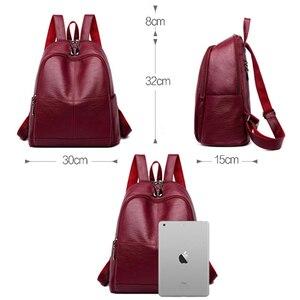Image 4 - Bagpack נשי תרמיל ילדה המוצ ילה feminina מזדמן נשים עור תרמיל נשי כתף תיק Sac Dos Femme נסיעות חזרה חבילה