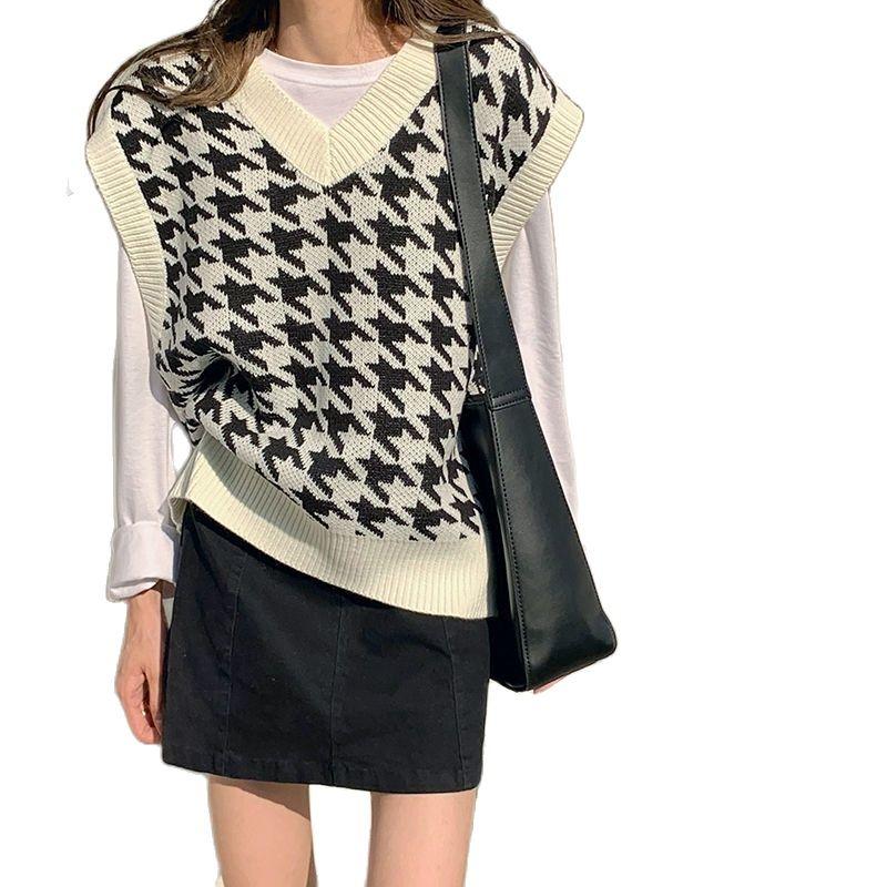 Women Sweater Vest Autumn Houndstooth Plaid V neck Sleeveless Knitted Vintage Loose Oversized Female Sweater Vest Innrech Market.com