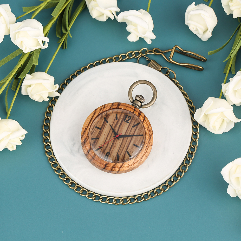 Vintage Bronze Rough Chain Concise Solid Wooden Case Pocket Watch For Men Large Brown Dial Clock Women Zegarek Kieszonkowy