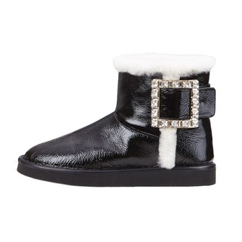 2020 Women Winter Boots New Rhinestone Snow Boots Women Flat Wool Ankle Boots Leather Warm Silver Short Boots Black Ladies Shoes