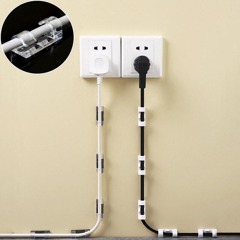 20 sztuk/zestaw oplot na kable klip klej ładowarka zapięcie biurko przewód zasilający słuchawki linia telefoniczna Tie Fixer USB organizator klipy Holder