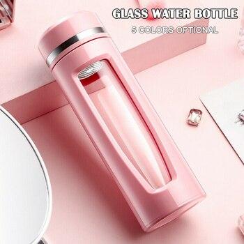 Botella de agua de vidrio con aislamiento breve a prueba de fugas hervidor portátil con Infusor de té oficina en casa P666