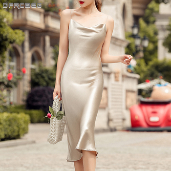Sexy Summer Satin Dress 2020 Strapless Spaghetti Strap Long Backless Dresses Party Casual Basic Maxi Dress Women sexy lace embroidery summer dress women vintage off shoulder backless dress elegant spaghetti strap casual party dresses vestido