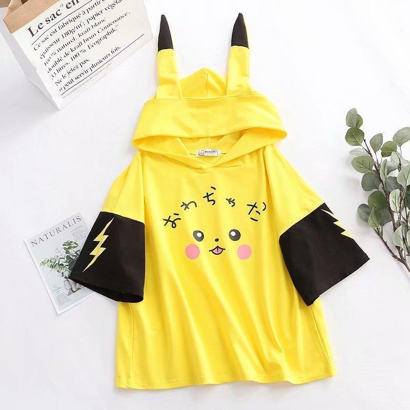 Anime Pikachu Hoodies Women's Clothing Kawaii Printed Cross Ribbon Women Girls' T-shirt Spring Summer Cotton Top