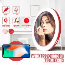 Portable LED Lighted Mini Circular Makeup Mirror Compact Travel Sensing Lighting Cosmetic Wireless USB Charging
