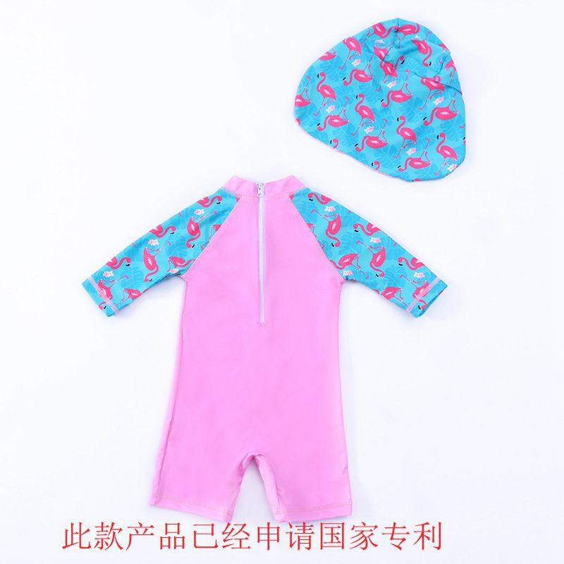 CHILDREN'S Swimwear Girls One-piece Small CHILDREN'S Long Sleeve Beach Cartoon Cute Quick-Dry Flamingo Baby Swimsuit
