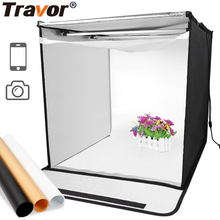 Travor 40*40 cm LED Photo box Photo Studio lightbox tabletop Shooting foldable Tent photobox with dimmer led light