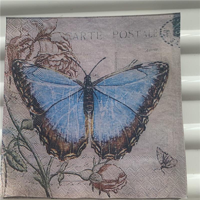 Decoupage Wedding Birthday Party Napkin Paper Elegant Tissue Butterfly Dragonfly Vintage Beautiful Serviettes Square Decor 20
