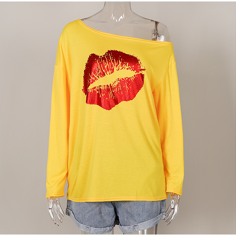 Plus Size 5XL Off Shoulder Blouse Women Red Lips Print Long Sleeve Female Blouses O-neck Casual 2020 Autumn Summer Tshirt Tops