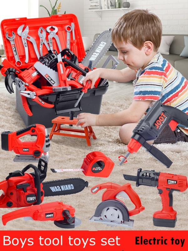 Children's Tools Toy Set Boys Simulation Repair Kit Repair Box Screws Baby Chainsaw Pretend Play Tool Toys Set