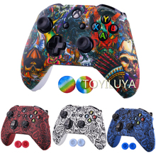 Camouflage Camo Silicone Protective Skin Case Rubber Cover Sleeve +2 Thumb grips Caps for XBox One X S Controller Game Accessory