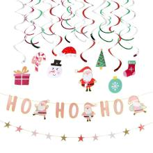 32pcs Christmas Decorations for Home Hanging Swirl Decor Ho Santa Claus Banner Star Garland Navidad 2019