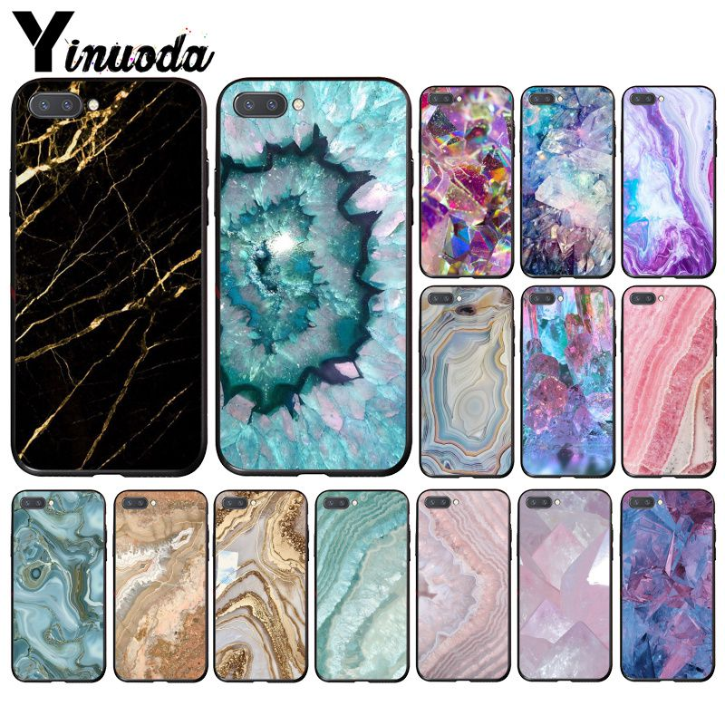 Yinuoda Blue Pink Purple Gemstone Agate Marble Crystal  Phone Case For Huawei Honor 8A 8X 9 10 20 Lite 7A 5A 7C 10i 20i