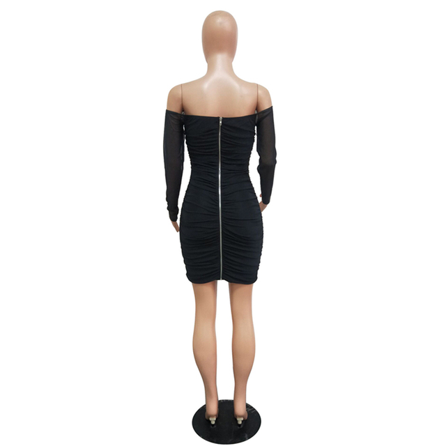 Off shoulder cute long sleeve mini dresses