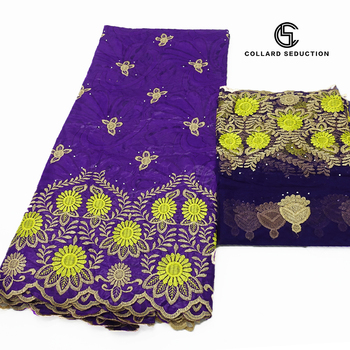 CS- 2020 New purple arrival Stone african Bazin riche fabric with embroidery lace / bazin riche dress material Nigerian