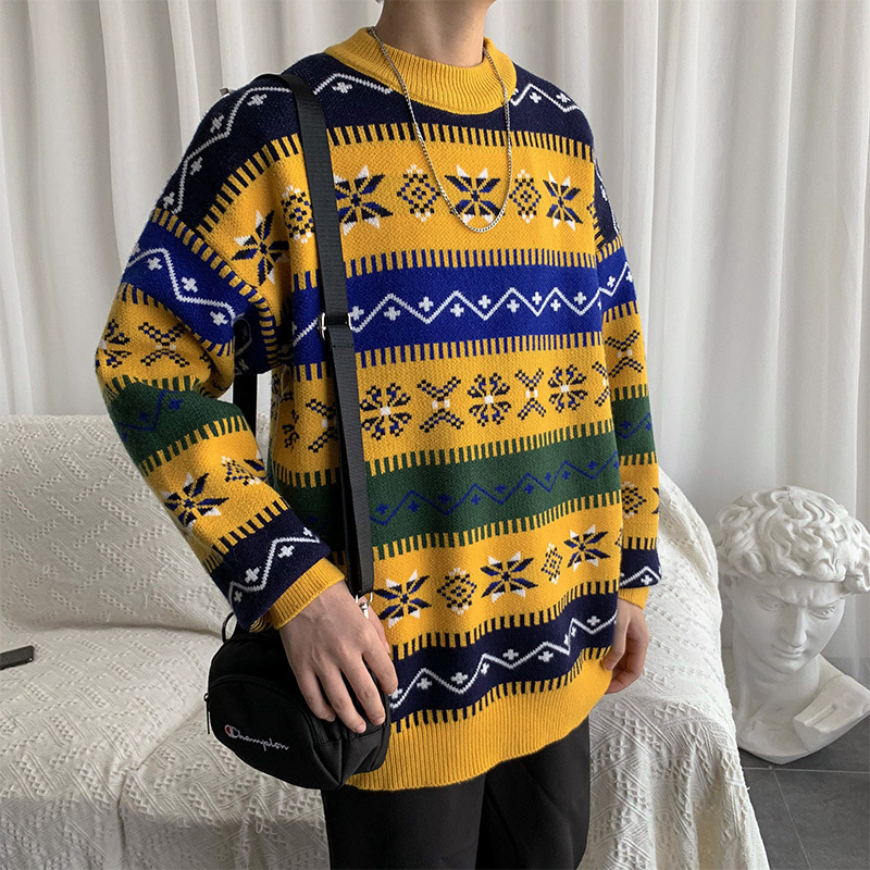 Plus Size Winter Sweater Men Long Sleeve Thick Streetwear Fashion Autumn Winter Sweater Christmas Warm Men Pullover Solid Loose