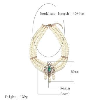 MASA Elegant Baroque Classic Multilayer Pearl Pendant Necklace for Women Metal Flash Rhinestone Fashion Bridal Moroccan Jewelry 2