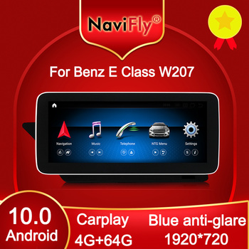 NaviFly Android 10 Car DVD GPS for Mercedes Benz E class C207 W207 A207 Two door Coupe 10.25 1920*720 Carplay DSP 4G LTE 4GB image