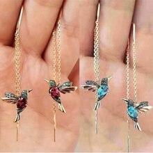 Стильные элегантные серьги гвоздики в виде птиц стиле стразы