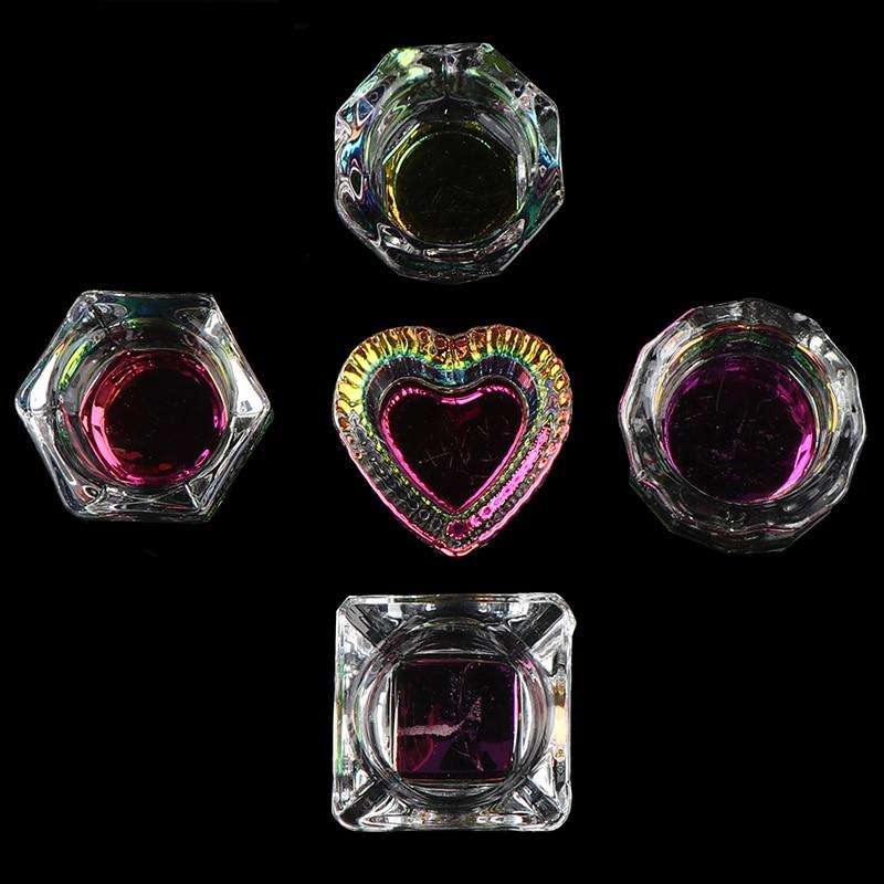Gökkuşağı kristal şeffaf akrilik sıvı bulaşık Dappen bulaşık cam bardak için kapaklı akrilik toz Monomer Nail Art aracı kiti sıcak