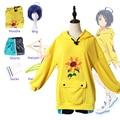 Костюм для косплея аниме Wonder Egg в приоритете Ai Ohto, темно-синий короткий парик, желтые толстовки, шорты, треугольная заколка для волос, женский...