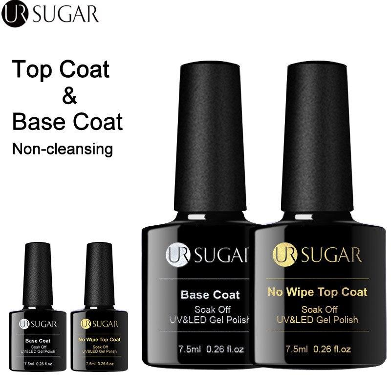 UR AÇÚCAR 7.5ml Camada de Base Não Limpar Top Coat Polonês Gel Cor Das Unhas UV Fosco Top Coat UV LED Soak Off Nail Art Verniz Gel verniz