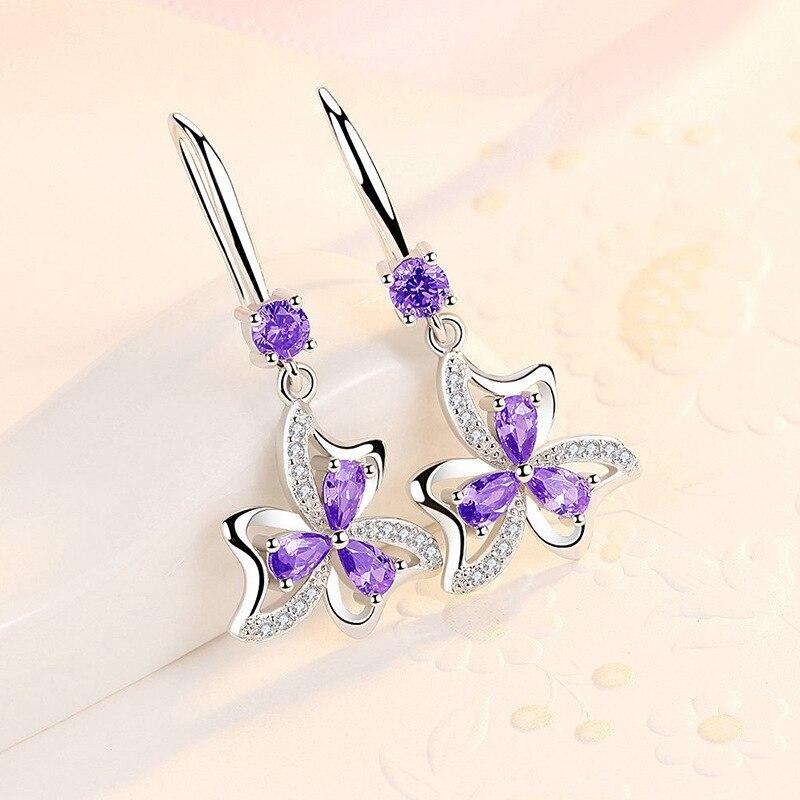 Fanqieliu 925 Sterling Silver Earrings Female Wedding Jewelry Luxury Crystal Earrings For Women Flower Drop Earrings FQL20012