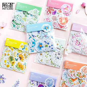 Journamm 45pcs/bag 8 Colors Fresh Flowers Deco Diary Stickers Scrapbooking Planner Bullet Journal Decorative Stationery Stickers mr paper 45pcs bag garden series washi deco diary stickers scrapbooking pad planner decorative stationery stickers accessories