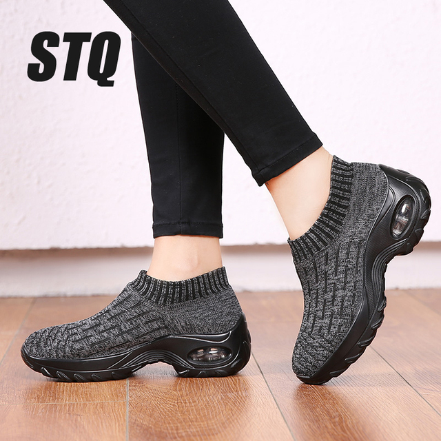 STQ Women Shoes Winter Flats Sneakers Shoes Breathable Mesh Shoes Women Sneakers Ladies Slip On Creepers Shoes Woman TF1972