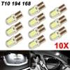 10x T10 194 168 W5W LED White Light Bulbs DC 12V Car Turn Signals Side Marker Lights License Plate Lamp