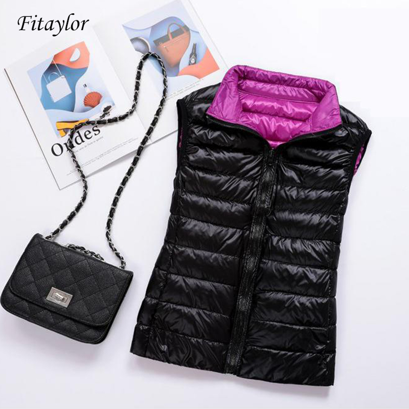 Fitaylor Women Double Side Ultra Light Duck Down Vest Coat Plus Size Packable Short Jacket Female Slim Sleeveless Outerwear