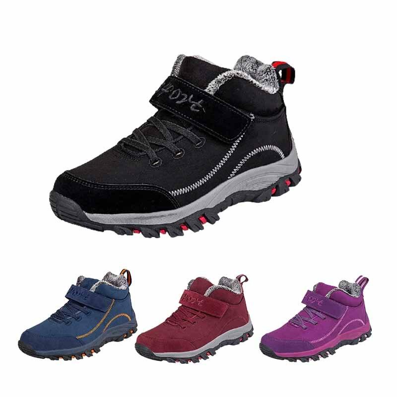 Зимние треккинговые ботинки Водонепроницаемый ботинки для женщин на резиновой подошве в повседневном стиле, мужские беговые кроссовки светильник на тонком высоком каблуке, с ремешком, для спортивной обуви
