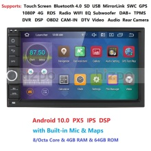 2 Din 7octa Core Universele Android 10.0 4Gb Ram 64G Rom Auto Radio Stereo Gps Navigatie Wifi 1024*600 Touch Screen 2din Auto Pc