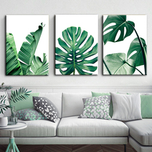 ART ZONE Nordic Canvas Painting Modern Prints Plant Leaf Art Posters Green Wall Pictures Living Room Unframed Poster