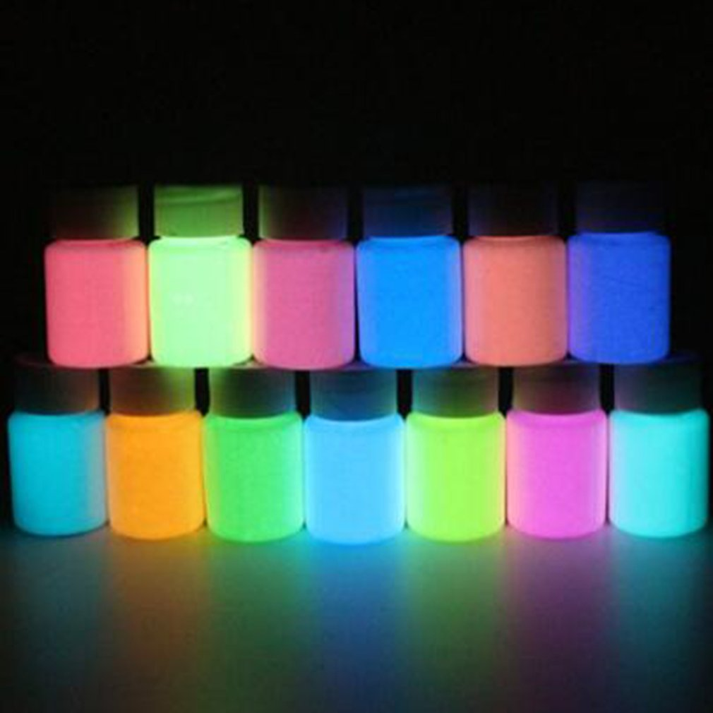 13 Color DIY Top Eco Non-toxic Odor Free Luminous Acrylic Bady Paint Fluorescent Body Art Pigment Party Night Running Glow Graff