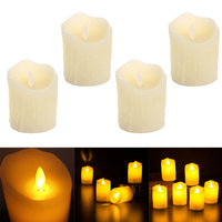 4pcs Swinging Dripped Wax Moving Dancing Flame LED Taper Candle Home Wedding Xmas Bar Party Church Decor