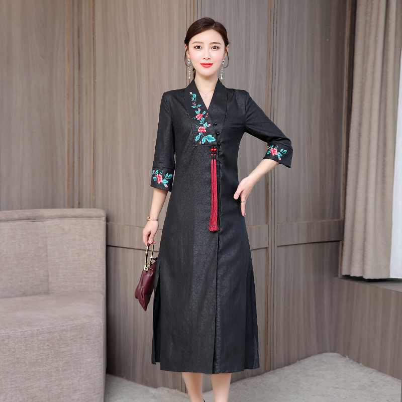 2020 Woman Sexy Cheongsam Chinese Style Qipao Halter Split Dress Vintage Appeal Perspective Pajamas Party Lace Qipao