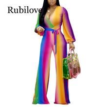 Rubilove Multi Color Printed Fashion Women Streetwear Full-length Jumpsuit Sexy Deep V Neck Belted Details Wide Legs Pants Jumps