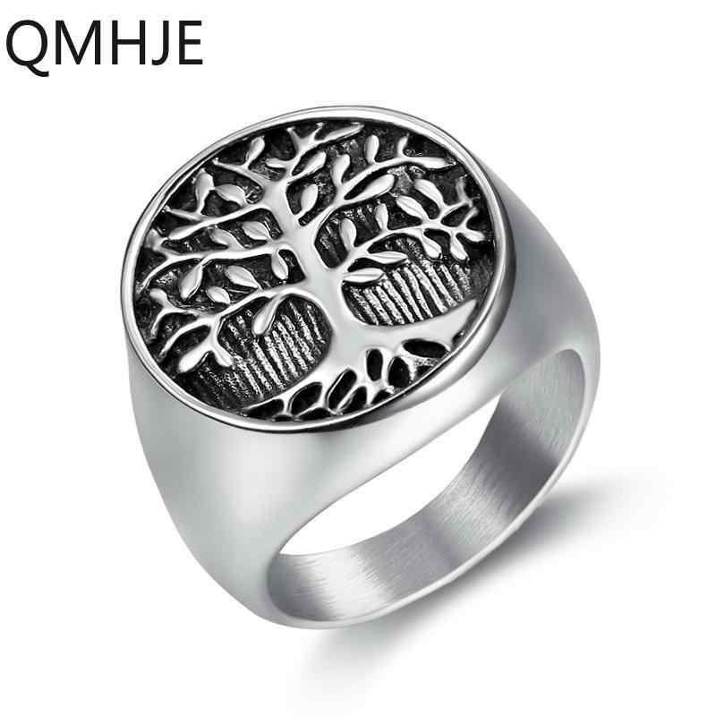 מזל עץ חיים גברים טבעת חותם חותם כסף צבע טיטניום נירוסטה זכר טבעות חתונה פאנק רוק ירך Biker להקה נשים